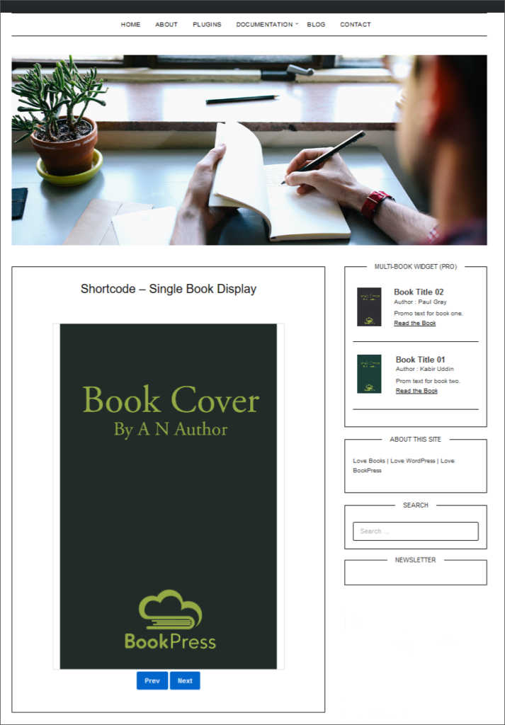 Display book in a page or post